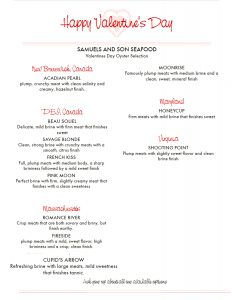 Valentines Day Oyster Menu