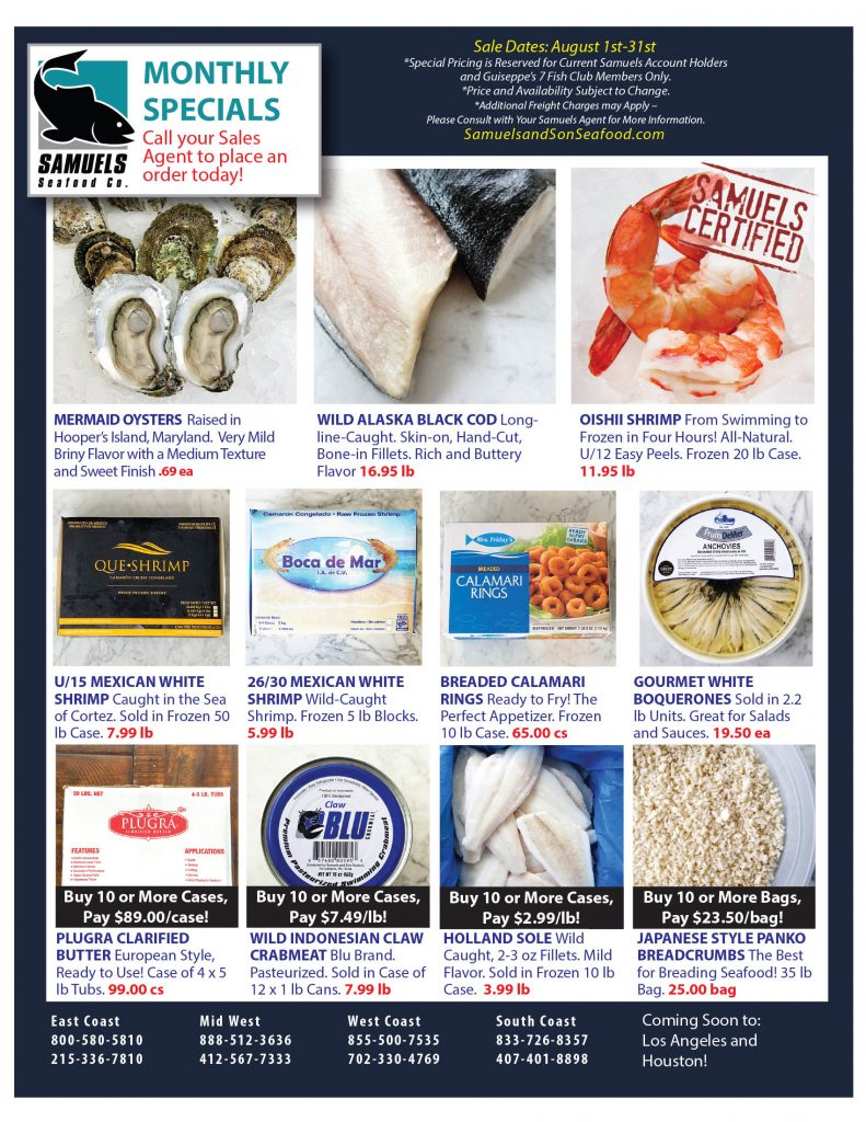 Monthly Specials   Samuels Seafood
