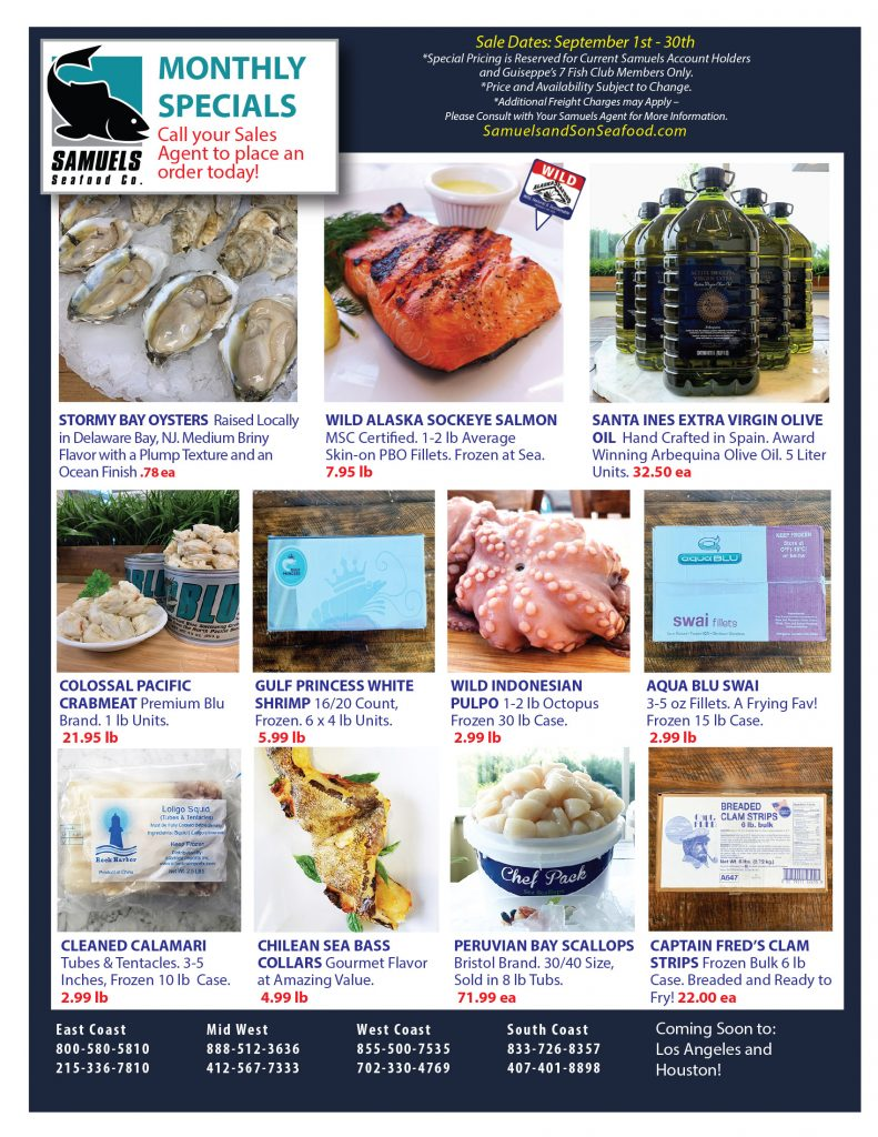 Monthly Specials | Samuels Seafood
